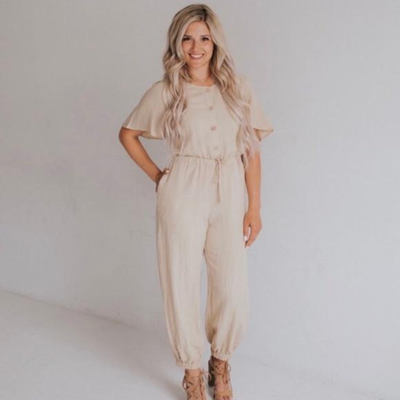 2e02104e25ca NWT Ashley Lemieux Cream Jumpsuit